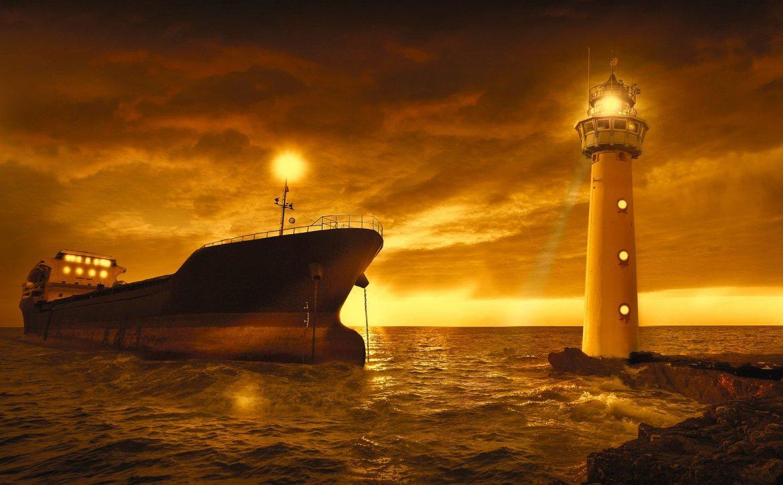 The Battleship And A Lighthouse